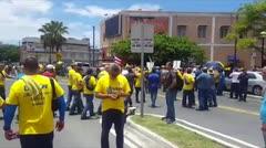 Miembros de 25 sindicatos se manifiestan en contra del Proyecto 938.
