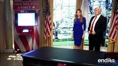 Sean Spicer presenta la nueva figura de cera de Melania
