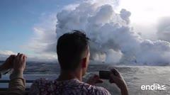 Una peligrosa nube ácida se eleva sobre el mar en Hawaii