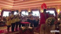 Los niños de la cueva de Tailandia participan de una ceremonia budista para que tengan suerte