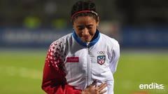 Dolida Beverly Ramos tras colapsar al final de su carrera en Barranquilla