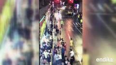 Tres muertos por la caída de un cartel publicitario en Shanghai