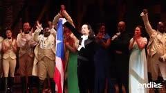 """Conmovido, Lin-Manuel Miranda se expresa ante el público de la primera función de """"Hamilton"""""""