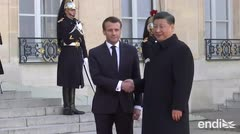 Emanuel Macron recibe al presidente de China