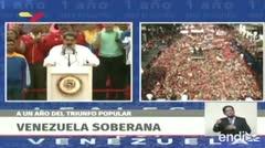 Manifestantes respaldan a Maduro tras un año de su cuestionada reelección en Venezuela