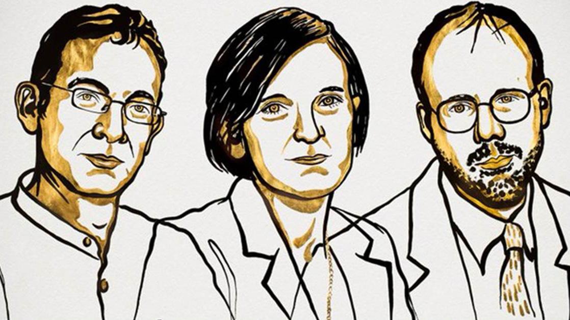 Una mujer entre los tres economistas ganadores de un Nobel
