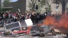 Choques entre manifestantes y las fuerzas de seguridad,en Chile