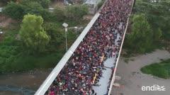 Impresionantes imágenes de la nueva caravana de migrantes