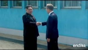 Así fue el saludo entre los líderes de Corea del Norte y Corea del Sur
