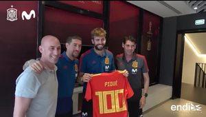Piqué cumple 100 partidos con la selección española