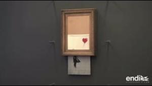 Exponen el lienzo autodestruido de Banksy