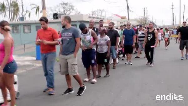 Largas filas para comprar hielo y gasolina en Río Grande