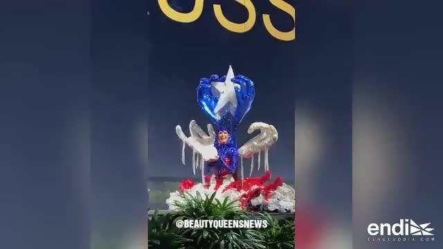 VIDEO: Kiara Liz Ortega se cae al desfilar su traje típico en Miss Universe